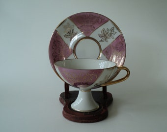 Vintage Tea Cup Pink Pearl Pedestal Teacup and Saucer
