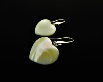 Romantic Heart Earrings with White Pearl. White Earrings. Romantic Earrings. Small Earrings. Silver Earrings Bridal Earrings Summer Earrings