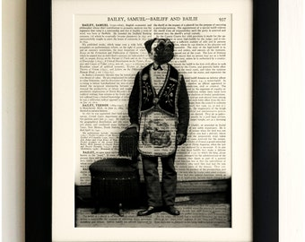 FRAMED ART PRINT on old antique book page - Dog in Uniform, Pug, Vintage Upcycled Wall Art Print Encyclopaedia Dictionary Page