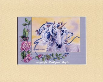 ENHANCED UNICORN PRINT; 8 x 10 matted unicorn enhanced with tiny pearls, roses trim, cream mat, original art,romance
