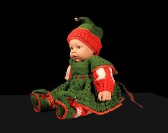 Crochet Elf Baby Dress, Baby Christmas Set, Baby Girl's Dress, Holiday Set, Baby Clothing, Newborn to 6 Months, Baby Gift Set, 4 Piece Set