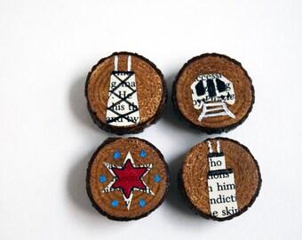 Chicago Rustic Magnets - Landmarks of Chicago Wooden Refrigerator Magnet Set of 4 - Decoupage Magnets