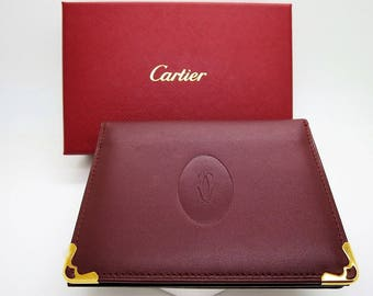 CARTIER PASS/ID/Credit Card Holder ~ Signature Burgundy with Certificate & Box