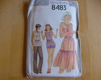 """Vintage 1970s Simplicity Pattern 8483, Misses Pullover Dress or Top, Pants and Shorts, Size 10, Bust 32 1/2"""""""