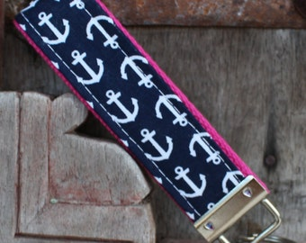 READY TO SHIP-Beautiful Key Fob/Keychain/Wristlet-White Anchors on Hot Pink