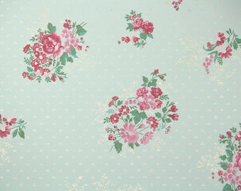 1940s Vintage Wallpaper by the Yard - Pink Flowers on Mint Green, Floral Wallpaper