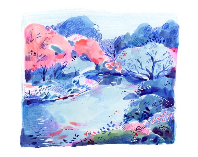 Blue Landscape -- Art Print