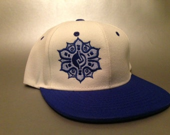 Mayan Flower Snapback Hat made to order two tone flat bill FREE SHIPPING