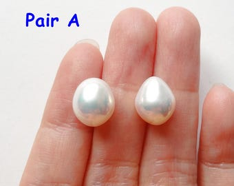 A grade Half Top drilled White Freshwater Pearl Oval Drops 9-9.5 mm One Pair Perfect for Earrings J7510