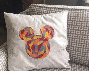Mickey Pillow - 14 x 14 Pillow Cover Disney-Inspired Orange Yellow Fuchsia Gray Pillow Mosaic Pillow