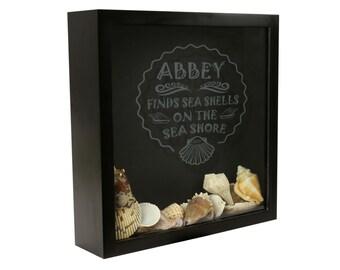 Seashell Shadow Box, Seashell Collection Box, Seashell Art, Seashell Holder  [SEA-002]