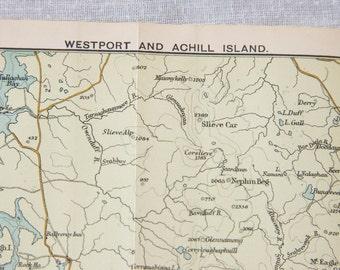1902 Westport Ireland & Achill Island Antique Map
