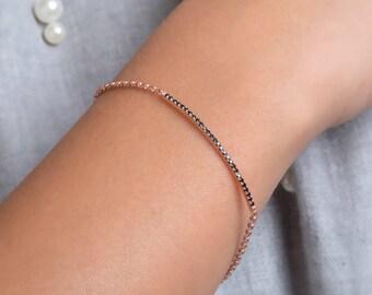 Diamond bar bracelet, Dainty diamond bracelet, Black diamond bracelet, Bar bracelet, Delicate bracelet, Chain bracelet, Long bar bracelet
