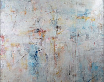 "Signed Lena Gustav Original Oil On Canvas Beautiful Abstract Painting 49"" x 49"" Elegant Modern Style"