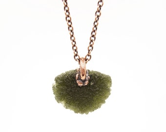 Large Moldavite Necklace | Tektite Necklace | Moldavite Pendant | Natural Raw Moldavite | Electroformed | Crystal Necklace | Copper Chain