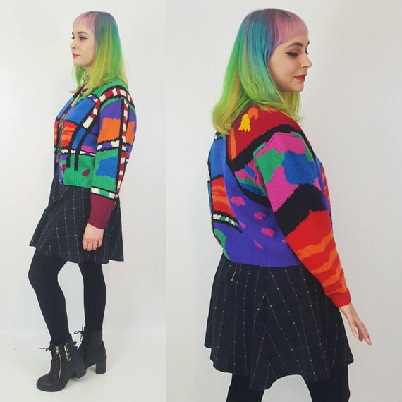Vintage Rainbow Knit Sweater Medium Large - 80s Cardigan Allover Random Pattern - Multicolor Patterned Button Up Cardi