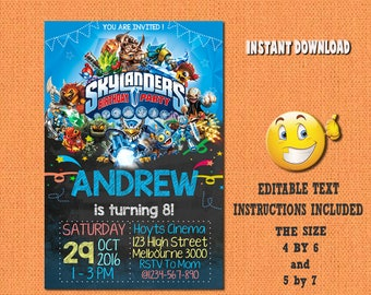 Skylanders invitation,Skylanders ,Skylanders birthday,Skylanders invites,PDF editable invitation,Skylanders party,invites Skylanders