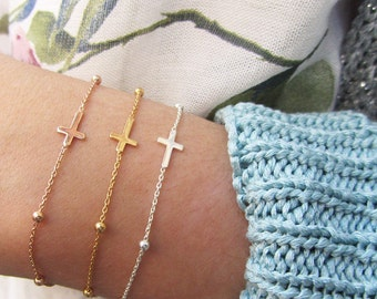 Cross jewelry for women, Sideways Cross Bracelet, Sterling cross bracelet, layering bracelet, silver cross bracelet, Sterling silver 925