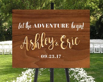 Printable Wedding Sign, Adventure Begins Sign, Rustic Glam Wedding Sign, Reception Sign, Faux Wood Wedding Sign, Wood Gold Wedding Sign