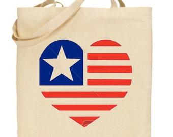 Heart Flag Tote Bag - Beach Bag, Purse, Gift Bag