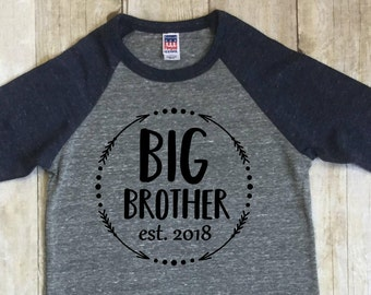 Big Brother Shirt Est. 2018-Big Brother Announcement Shirt-New Brother Shirt-Baby-Big Brother Navy Blue-Shirt-Raglan Shirt-Made in USA