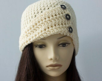 1920s Crochet Hat, Off White Winter Hat, Button Flapper Hat, Hand Crocheted Cloche, Made to Order