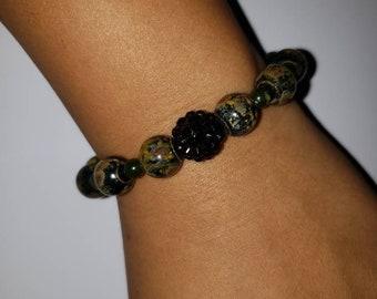 Green & black marble bracelet