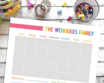 Printable Calendar, Personalized Wall Calendar, Family Calender Printable, 16 x 20 Family Planner, gift for mom, House warming gift
