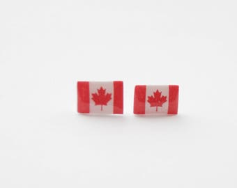 Canadian Flag Earrings, Maple Leaf Studs, Maple Leaf Earrings, Canada Flag Stud Earrings, Canada Earrings, Canada Maple Leaf Jewelry