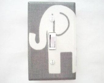 Elephant Light Switch Cover - Nursery Switch Plate - Grey White Nursery - Elephant Nursery Decor - Boys Nursery - Girls Elephant Nursery