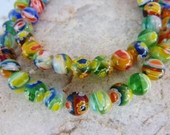 50 pce Vibrant Round Millefiori Glass Beads 6mm Jewellery Making Craft