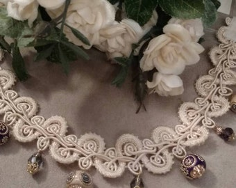 Boho, Beaded Choker, Art Deco Necklace, Gypsy, Applique Choker, Beaded Accents, Dangle, Ivory