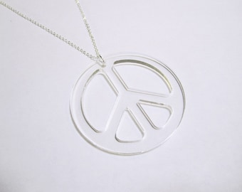 "Large Peace Pendant Clear Laser Cut Acrylic Peace Sign Necklace on 24 inch Silver Plated Chain 2.25"" Diameter"