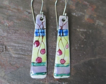handmade torch fired enamel earrings with sterling silver ear wire