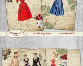 75% OFF SALE Christmas Ladies - Digital Collage Sheet Digital Christmas Cards C196 Printable Happy New Year Winter Digital Atc ACEO