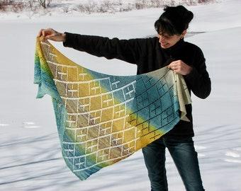 PDF knitting pattern MARELLE shawl easy in openwork garter stitch wrap cowl scarf