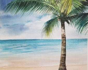 Palm Tree Seascape Original Watercolor Painting, Tropical Landscape Watercolor Painting Handmade ART