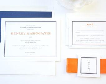 Event Invitation, Company Event Invitation, Navy and Orange, Business Invite, Modern Invitations, Color Customize!