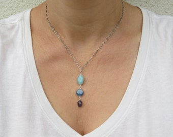 Y shaped necklace, Silver lariat necklace, Multi gemstone necklace
