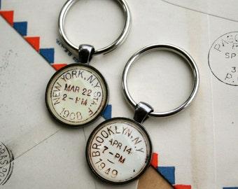 New York City Keychain - Brooklyn Keychain - Vintage Postmark Keychain - New York City Postmark or Brooklyn Postmark Keychain