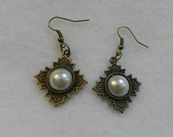 Lovely Bronze Half Pearl Cabochon  Earrings   V13