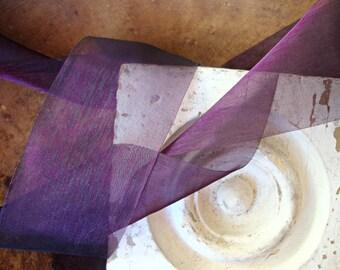 Aubergine Sugar Plum Iridescent Organza Ribbon