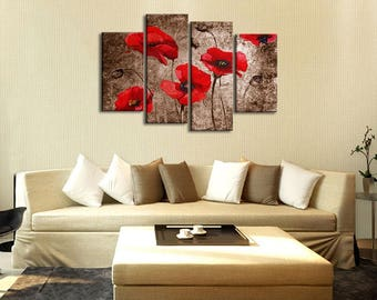 Red Blooming Gesang Flowers Oil Painting Canvas Print