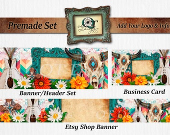 Premade Business Set BOHO Western Header Banner Business Card tee pee Chevron Print Pink Turquoise Frame Lace Cow Skull Floral Chandelier
