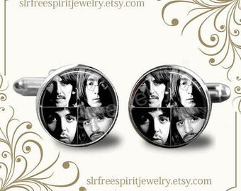 The Beatles Cuff Links, Fab Four, Iconic Band, John Lennon, Beatles Jewelry, British Group, Gift for Beatle Fan, Gift for Men, Gift for Guys