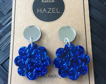 Silver Mirror and Electric Blue Flower Dangle Earrings.