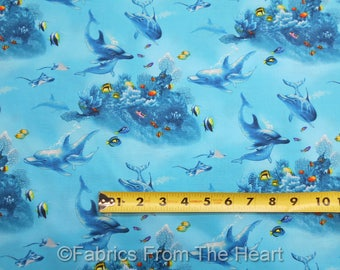 Paradise Found Dolphins Tropical Fish Sea Life Ocean BY YARDS Elizabeth's Fabric