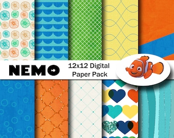Disney Nemo Inspired 12x12 Digital Paper Pack for Digital Scrapbooking, Party Supplies, etc -INSTANT DOWNLOAD -