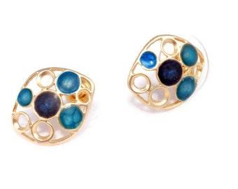 dark blue earrings for women blue gold studs bright blue earrings colorful enamel jewelry everyday earrings blue gold earrings