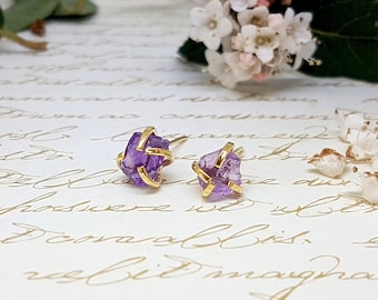Amethyst Stud Earrings, Raw Amethyst Earrings, Amethyst Earrings Gold, Genuine Amethyst Earrings, Raw Crystal Earrings, Raw Stone Studs